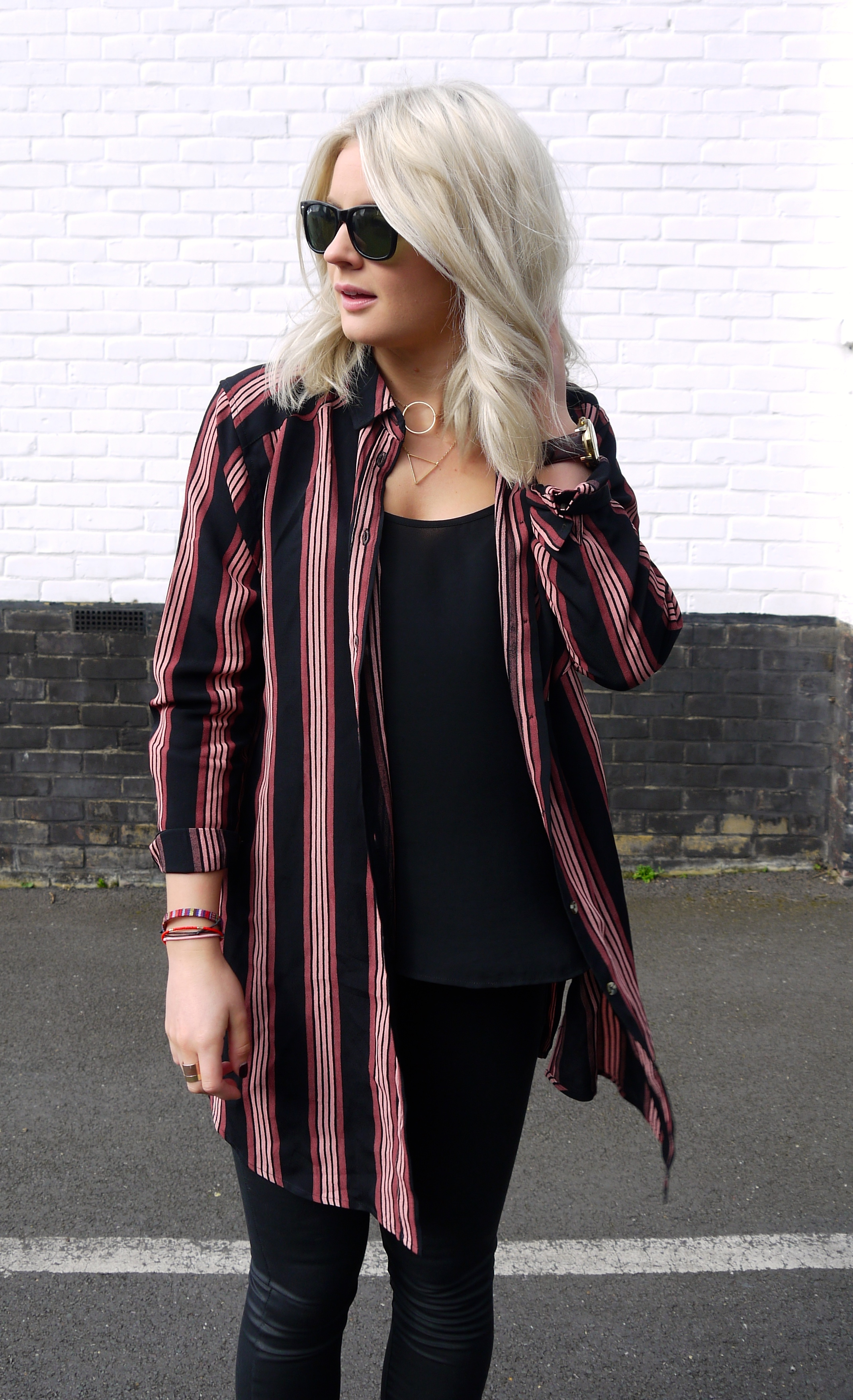 topshop stripe shirt, black leigh coated jeans, chunky loafers, ray ban waferer