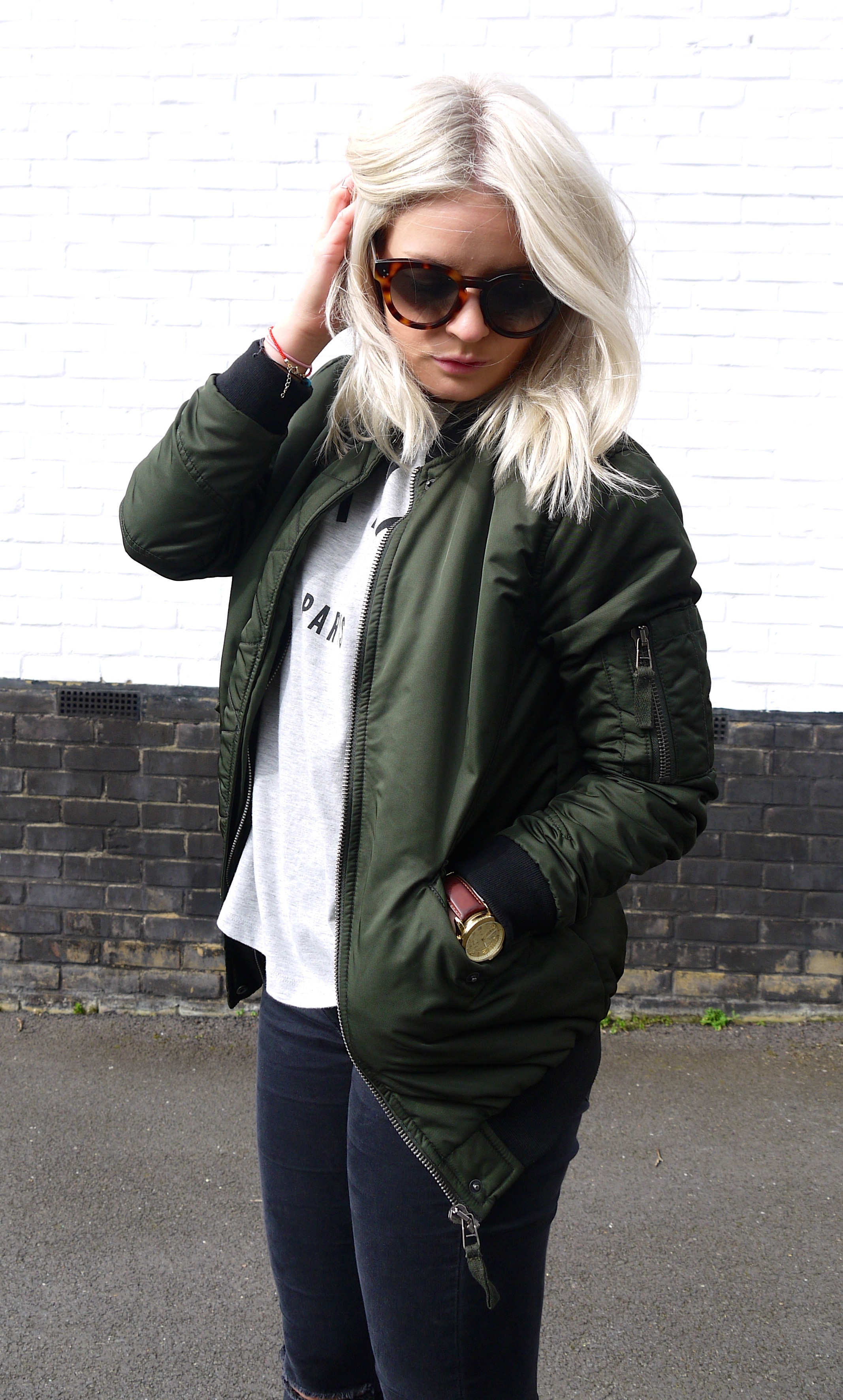 cest la vie, tea and cake, khaki bomber jacket, asos bomber jacket, celine sunglasses, ash blonde hair