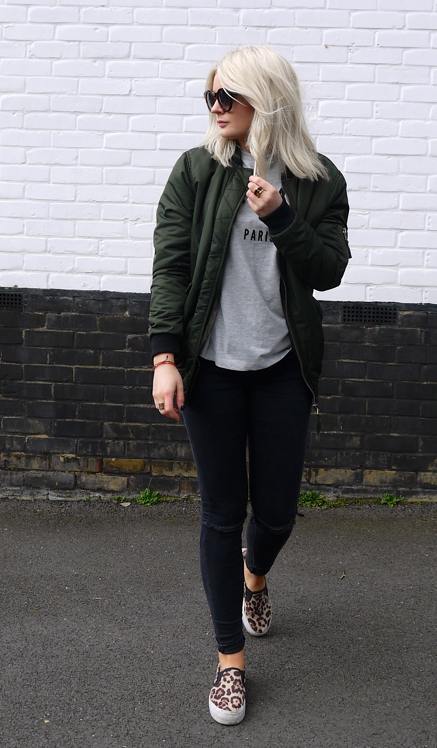 cest la vie, tea and cake, khaki bomber jacket, asos bomber jacket, celine sunglasses, ash blonde hair, laura byrnes, lauras little locket