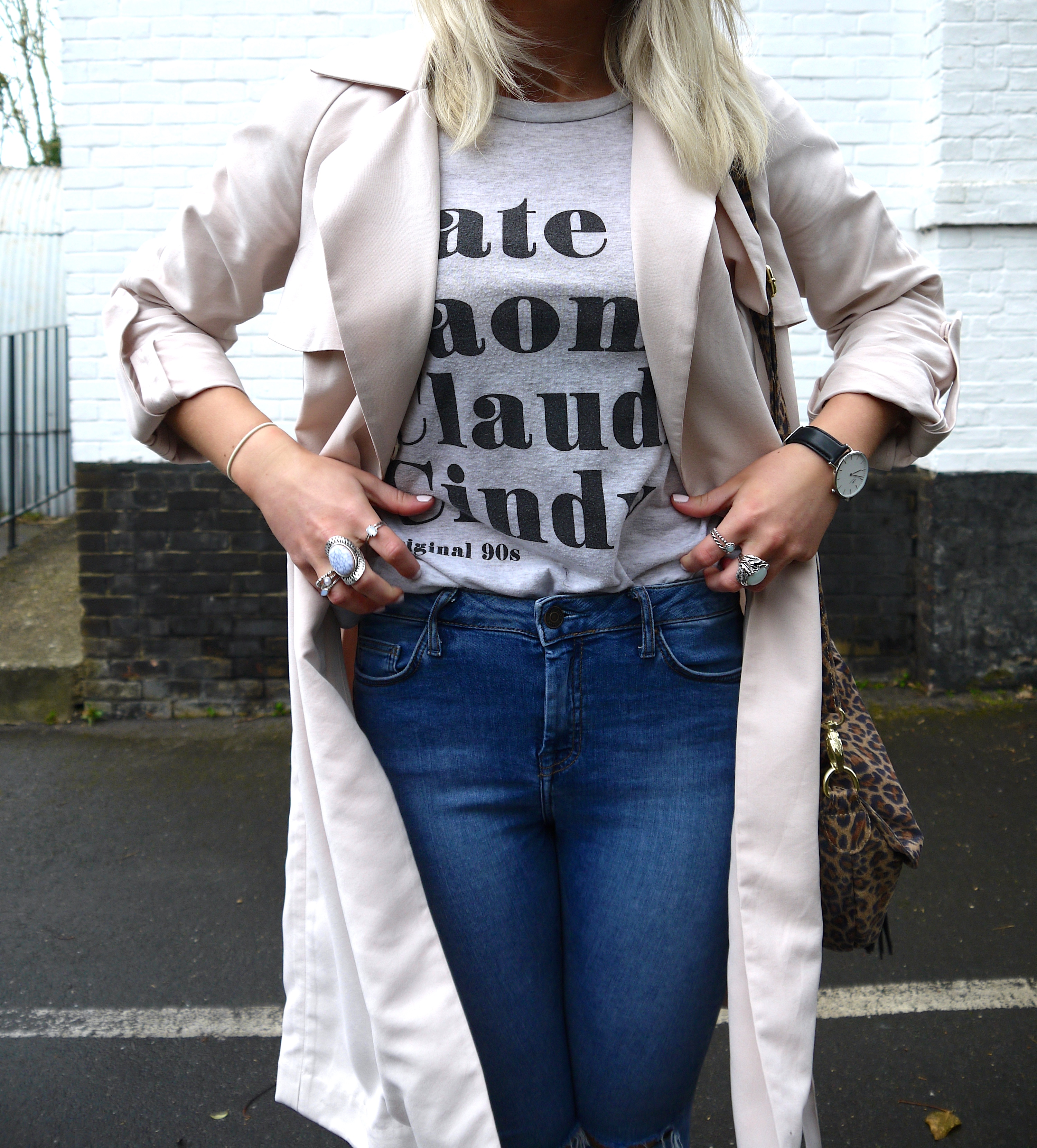 spring time, spring mac, nude mac, nude trench coat, grey slogan tee, nude heels, leopard print bag, fashion blogger,