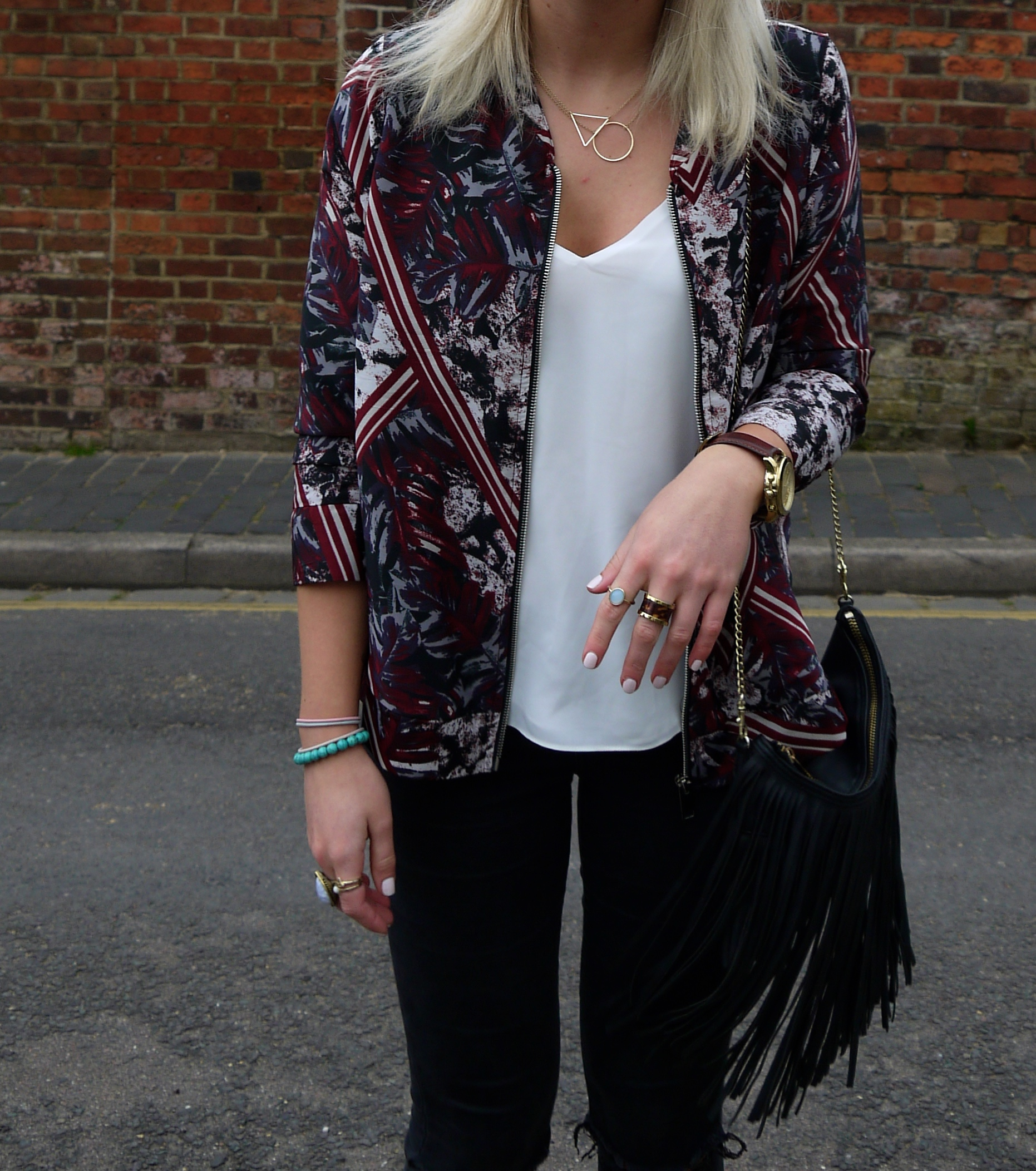 RED CREPE LEAF PRINT BOMBER JACKET, WHITE TOPSHOP CAMI, BLACK TASSLE BAG, Truffle Collection Ocean Chunky Lace Up Sandals
