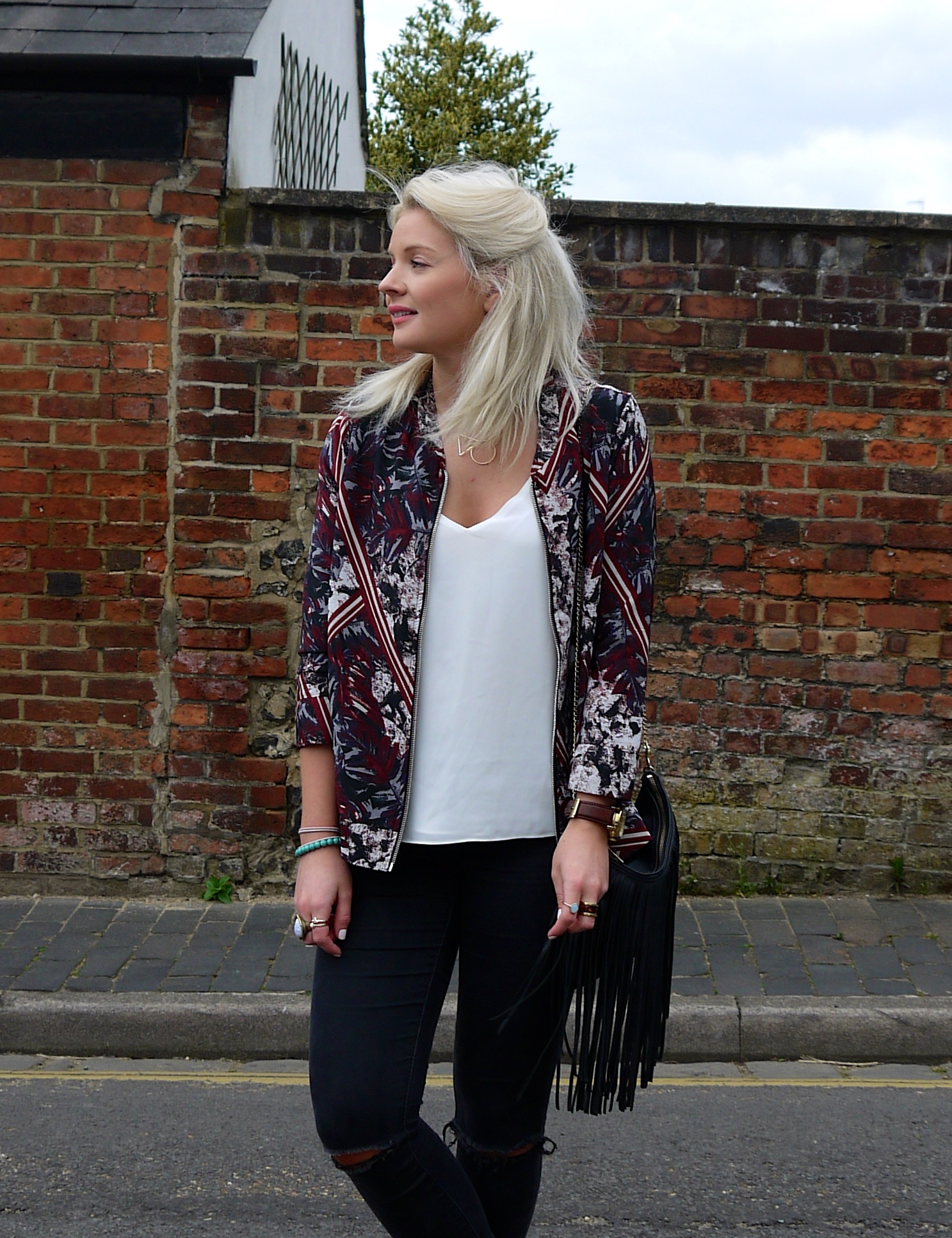 RED CREPE LEAF PRINT BOMBER JACKET, WHITE TOPSHOP CAMI, BLACK TASSLE BAG, Truffle Collection Ocean Chunky Lace Up Sandals, LAURA BYRNES