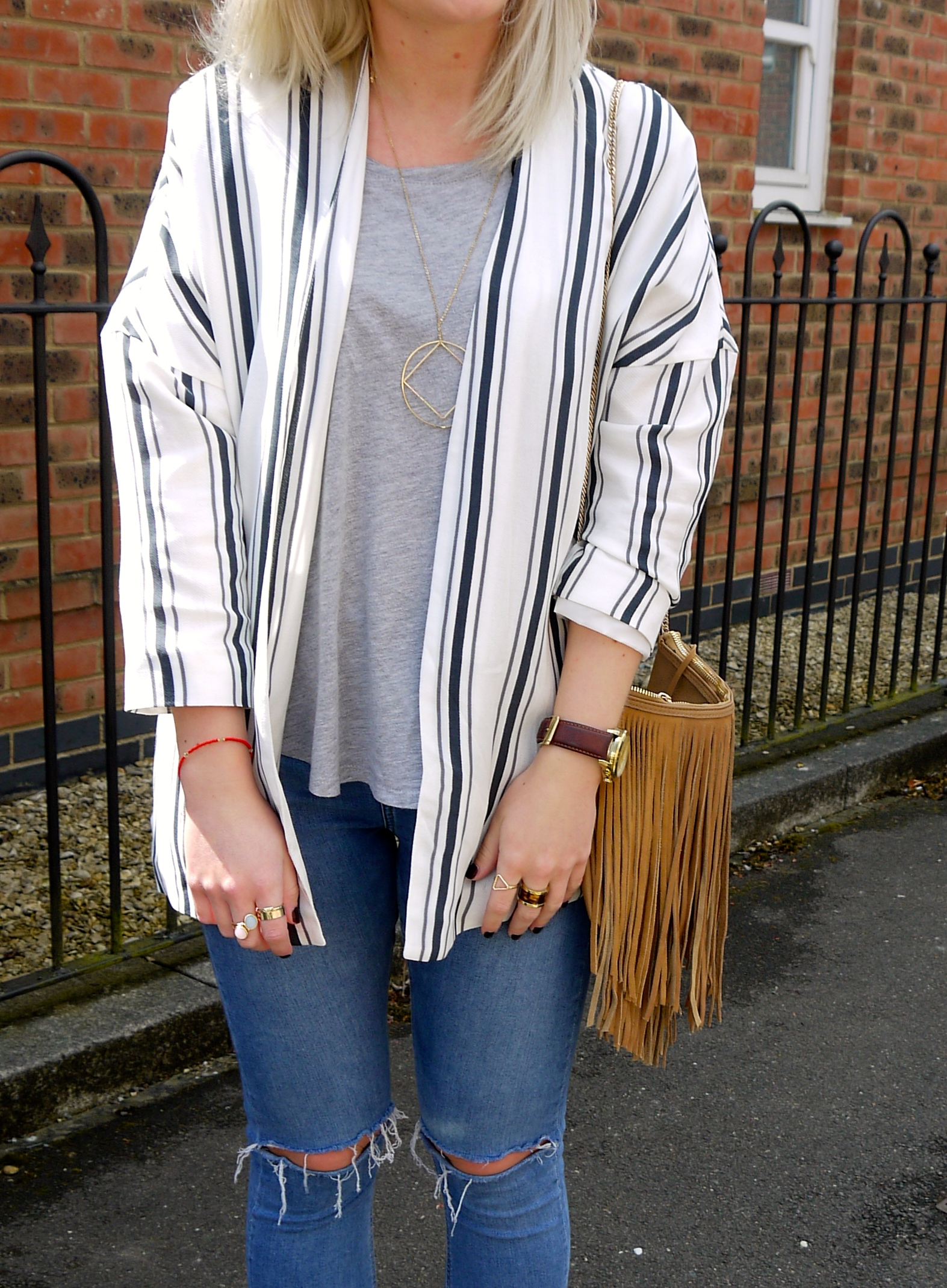 lauras little locket, laura byrnes, fashion blogger, tan tassel bag, boohoo, ripped jeans