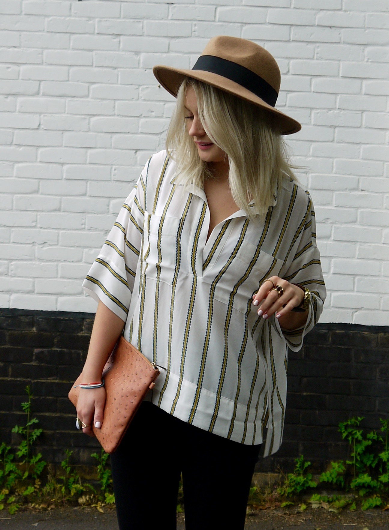 STRIPE SHIRT, BLACK RIPPED JEANS, TAN FEDORA, LAURAS LITTLE LOCKET