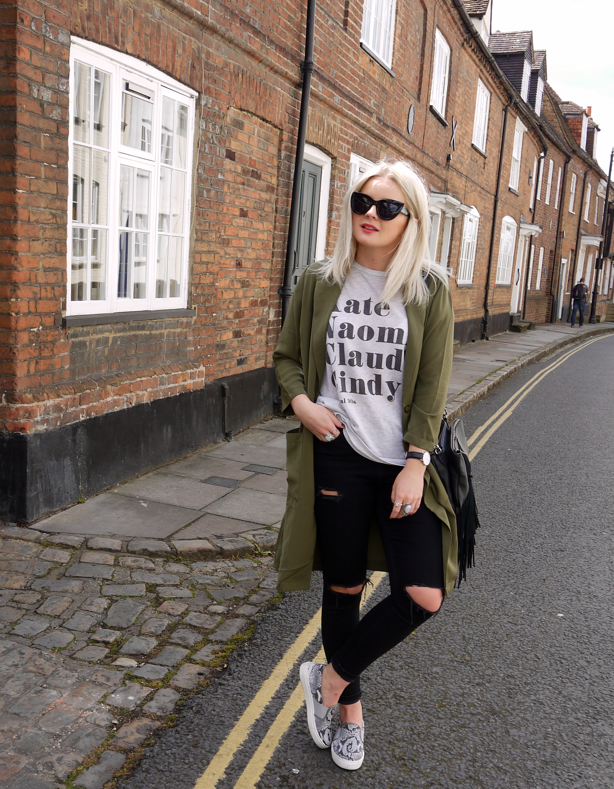 original 90s tee, khaki duster jacket, snake skin skater shoes, cat eye sunglasses, blonde hair, lauras little locket, laura byrnes, fashion blogger