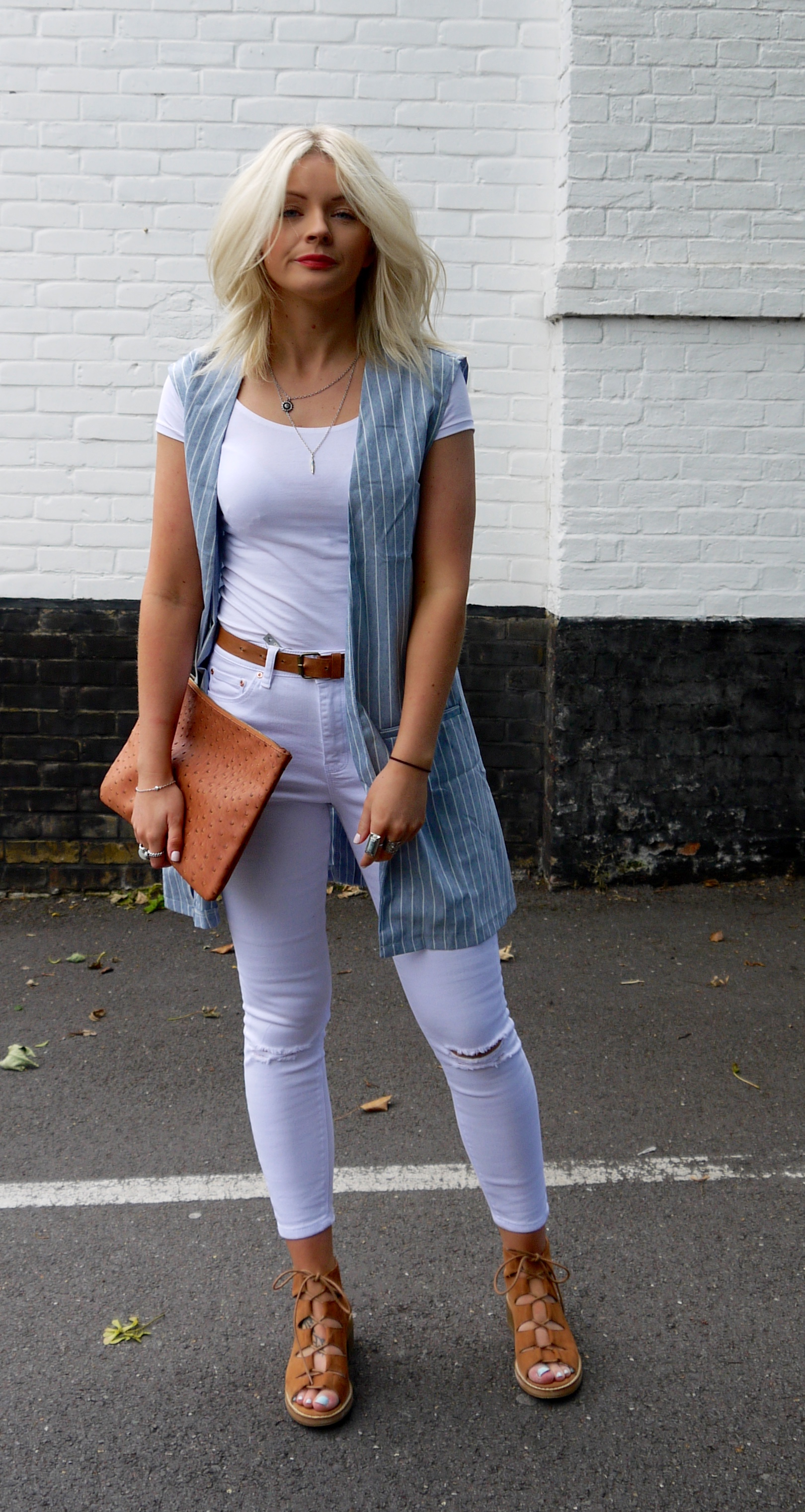 white ripped jeans, tan laceup sandals, tan accessories, blonde wavy hair, laura byrnes, lauras little locket, stripes, sleeveless blazer