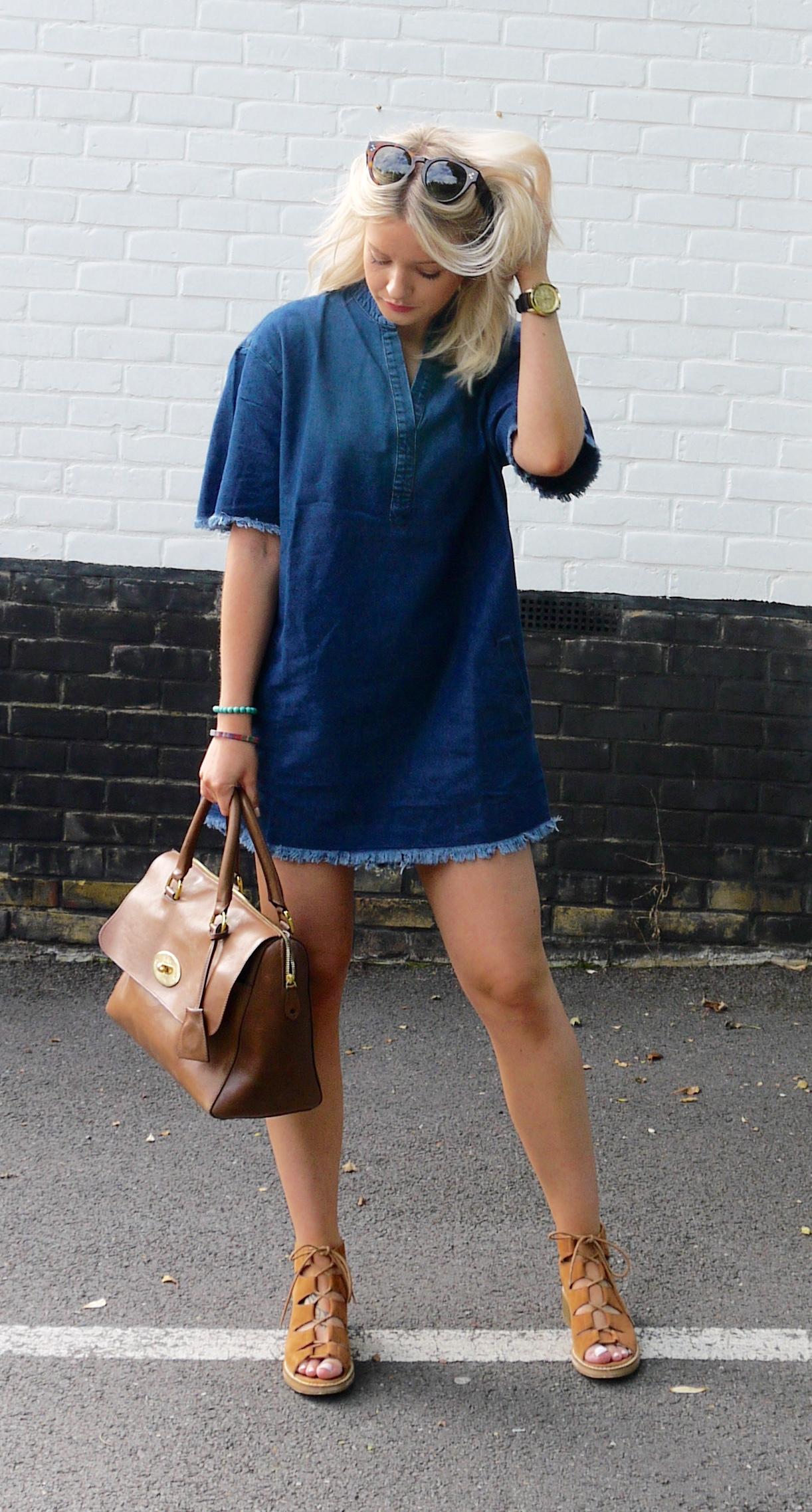 Denim dress street style