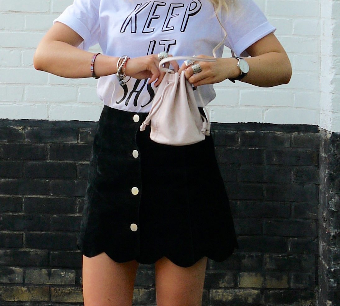 button through skirt, suede a line skirt, scallop edge, keep it sassy, sassy tee, rock on ruby, demanding, fashion blogger, outfit of the day, laura byrnes, lauraslittlelocket