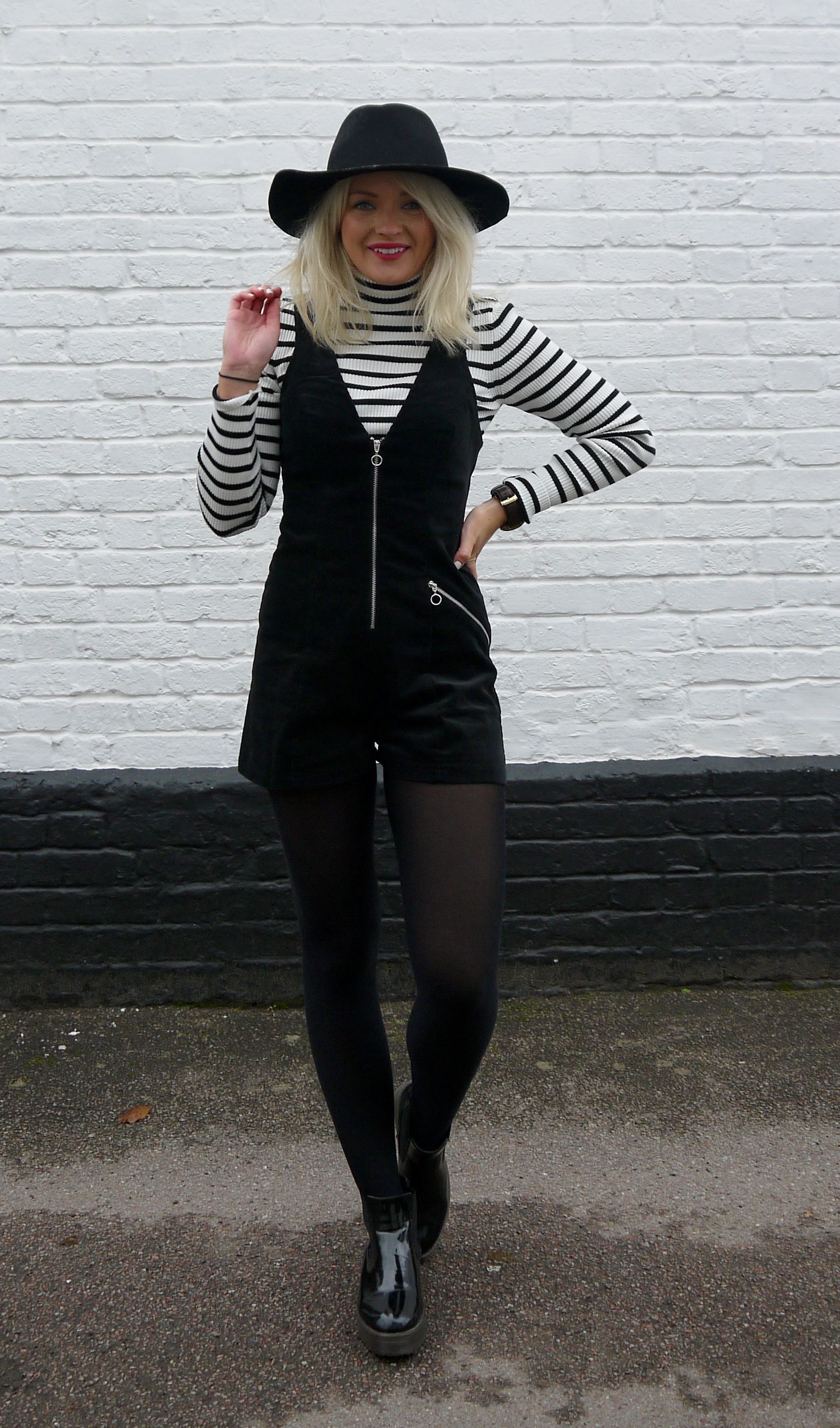 ASOS cord playsuit, stripe roll neck jumper, laura byrnes, laura louise byrnes, fashion blogger, pinafore playsuit, black fedora, black patent boots