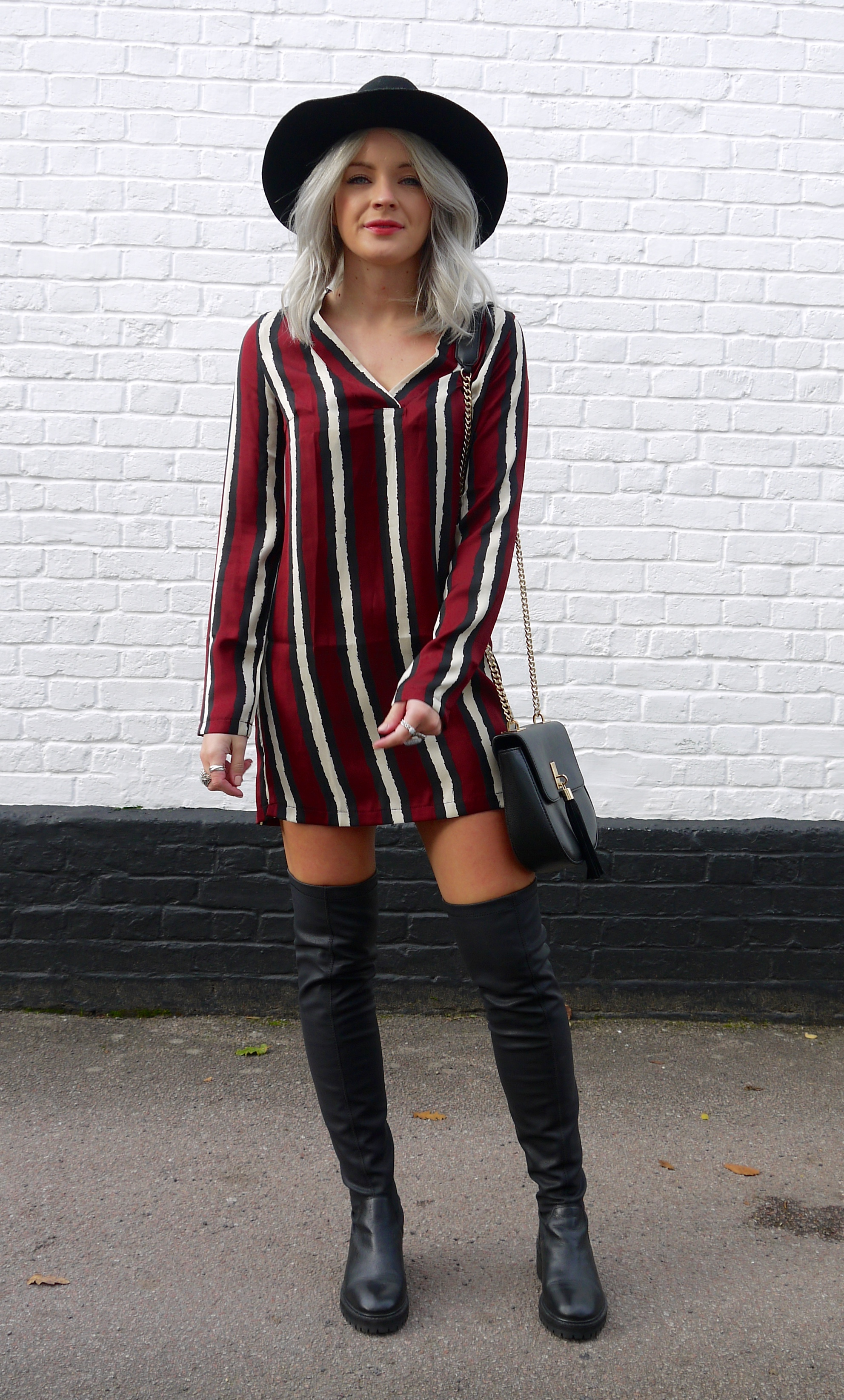 missguided burgandy stripe dress, silly stripe dress, t-shirt dress, over the knee boots, black boots, topshop destroy boots, grey hair, grey wavy hair, fashion blogger, lauras little locket, laura byrnes