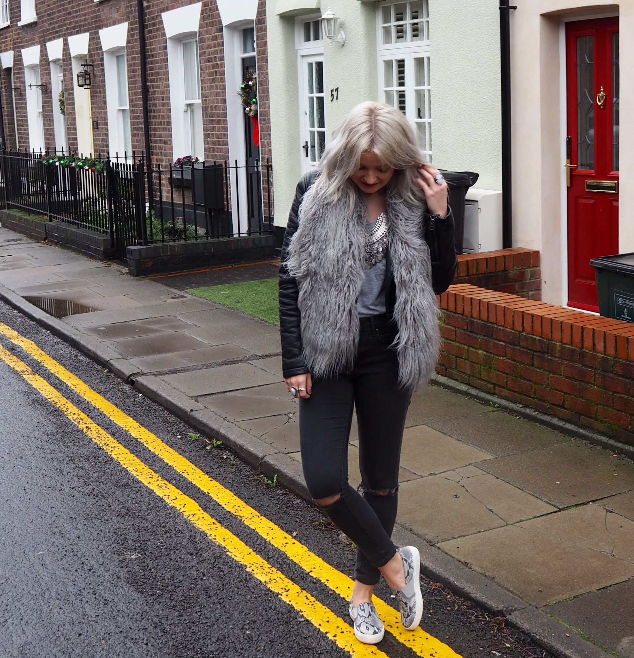 Leather jacket, grey scarf, ash hair, laura byrnes, lauras little locket, snake print slip ons, chunky silver jewellery
