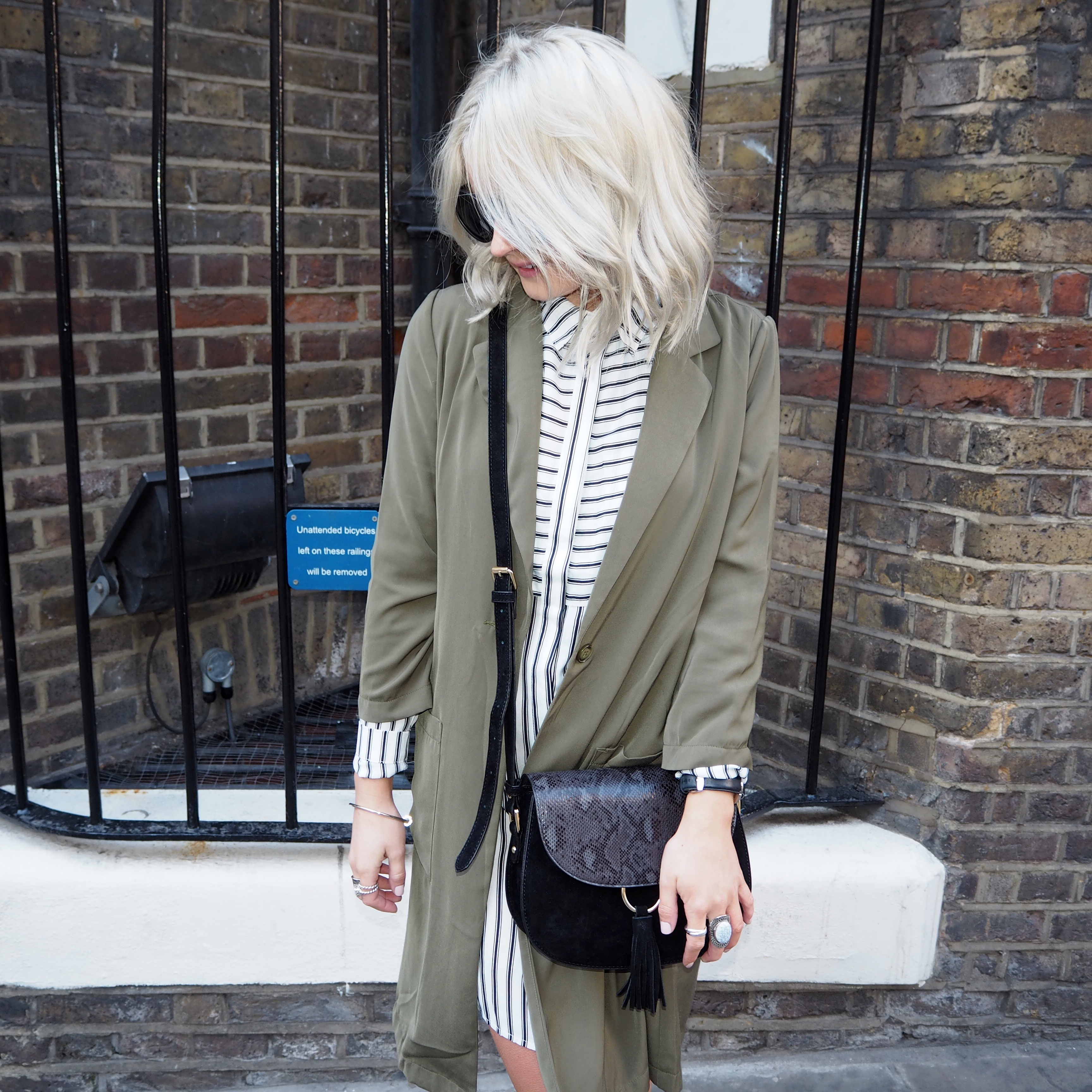 fashion blogger, laura byrnes, lauras little locket, stripe shirt dress, khaki duster jacket, black point boots, black sunglasses, outfit of the day, blonde ash hair, blonde wavy hair