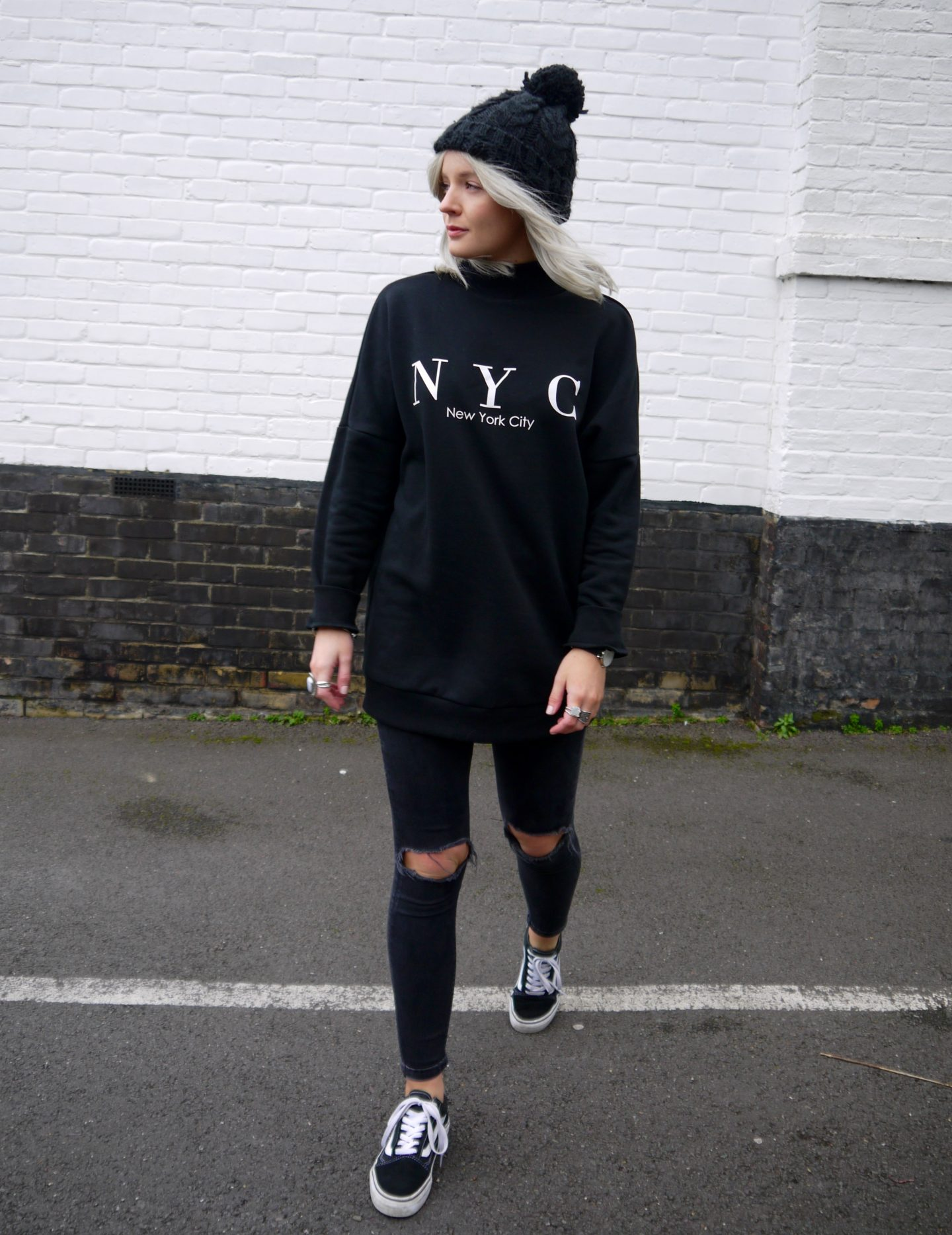 all black outfit, niece jumper, h&M black jumper, black old school vans, black bobble hat, street style, laura byrnes, lauras little locket