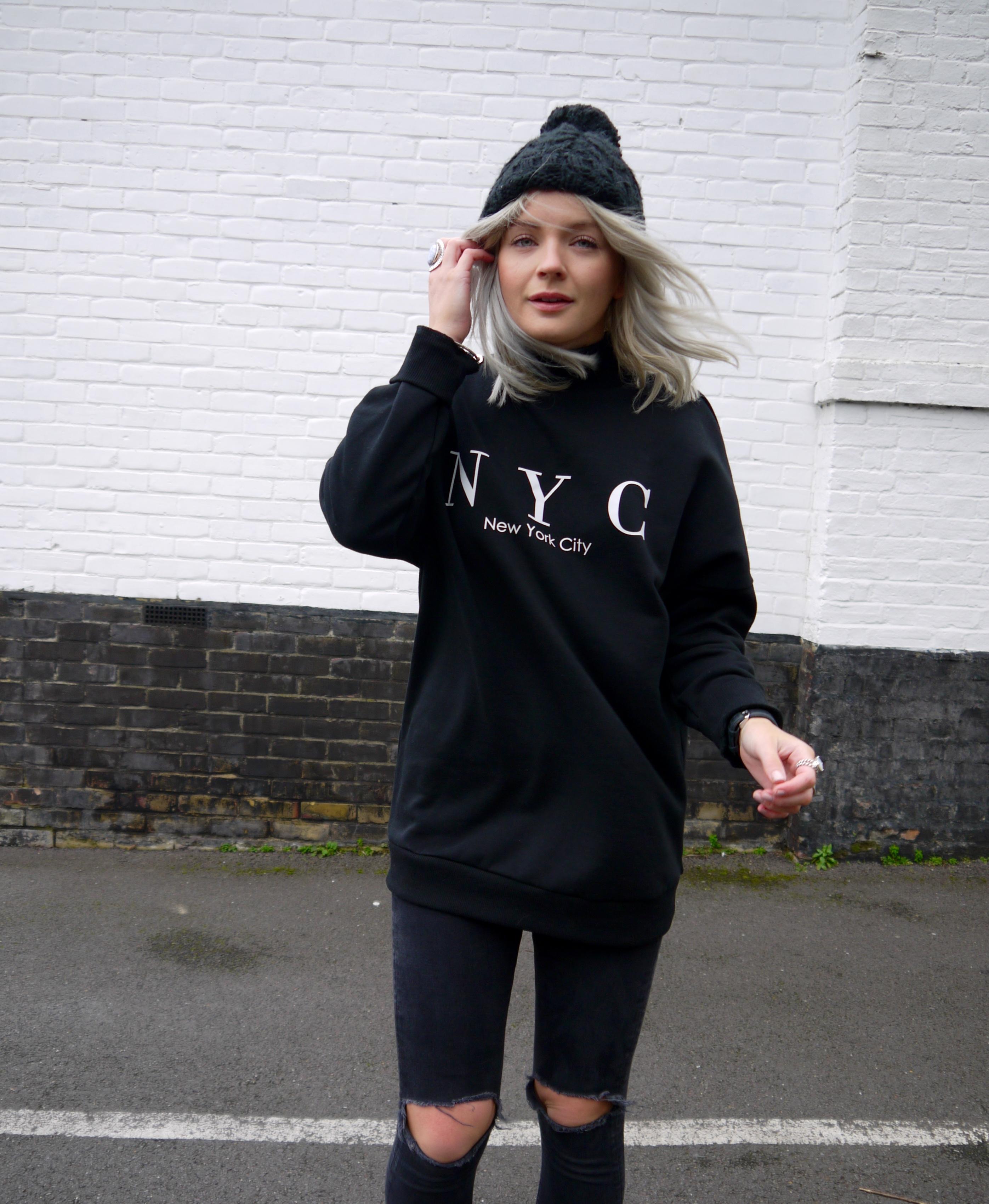 all black outfit, niece jumper, h&M black jumper, black old school vans, black bobble hat, street style, laura byrnes, lauras little locket