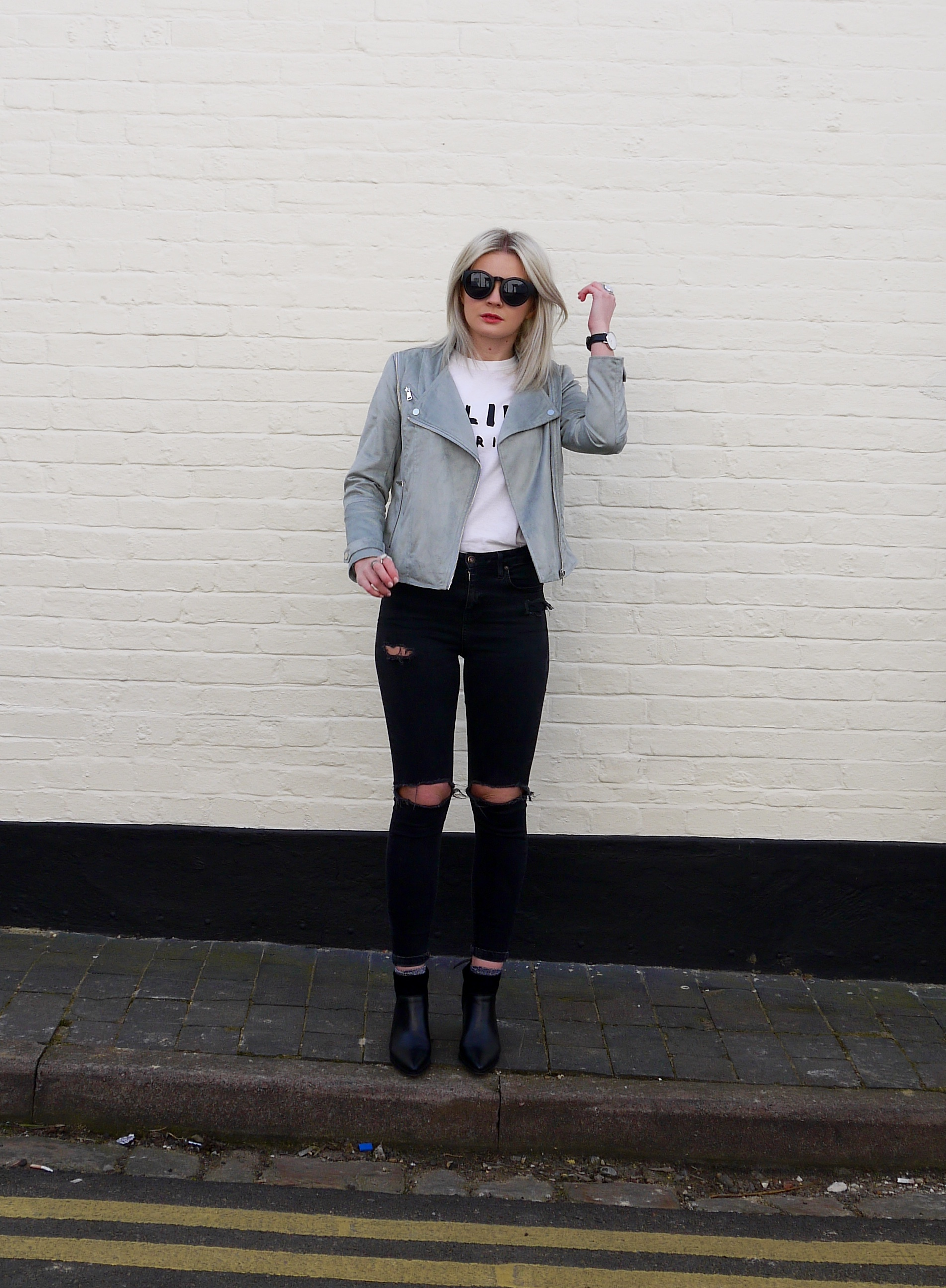 lauras little locket, laura byrnes, white celine t-shirt, grey suede biker jacket, black ripped jeans, black leather point boots