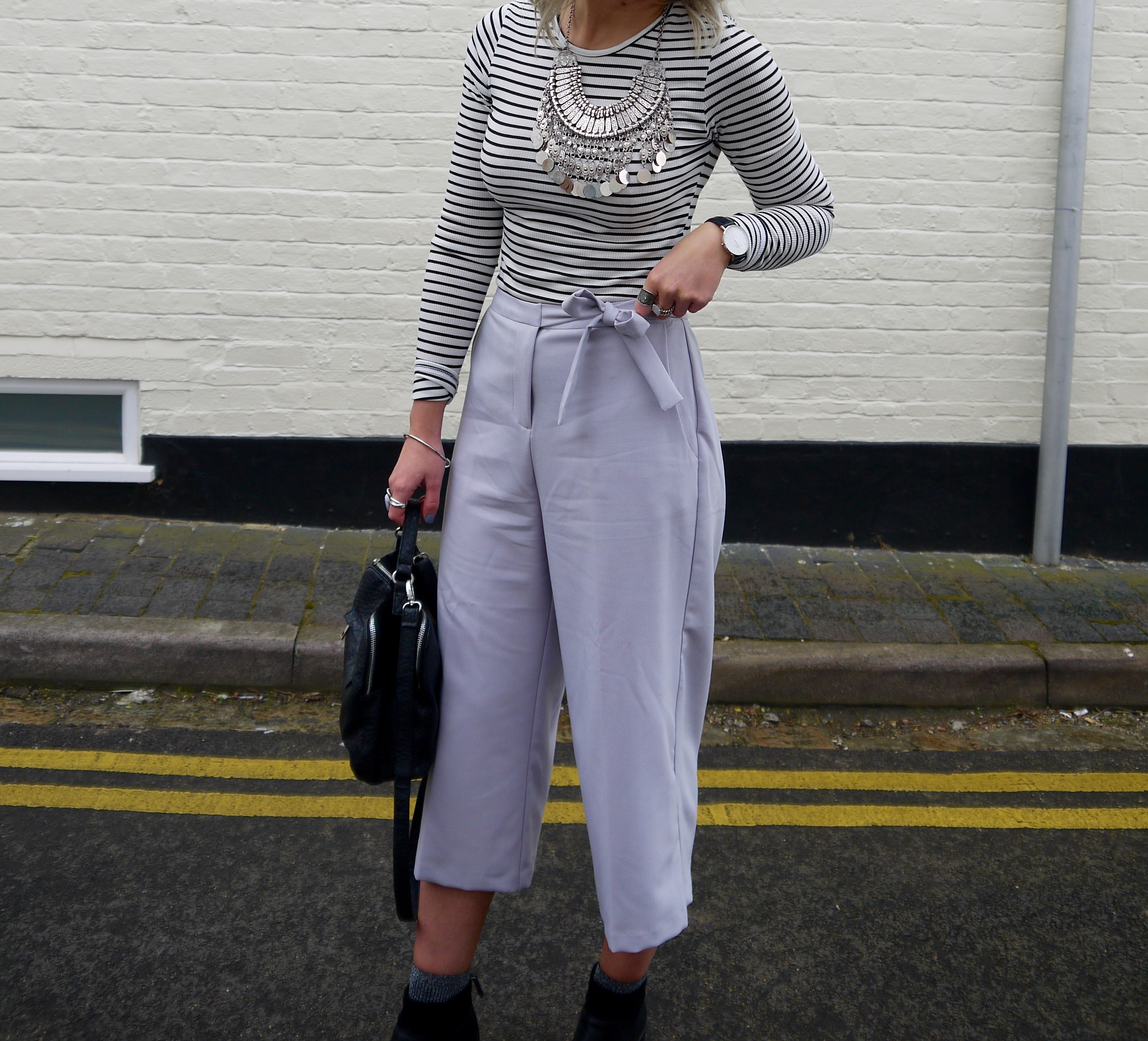 pastel clothing, middguided, culottes, stripe top, topshop pink trench coat, chunky silver necklace, blonde wavy hair, ash blonde hair, laura byrnes, lauras little locket