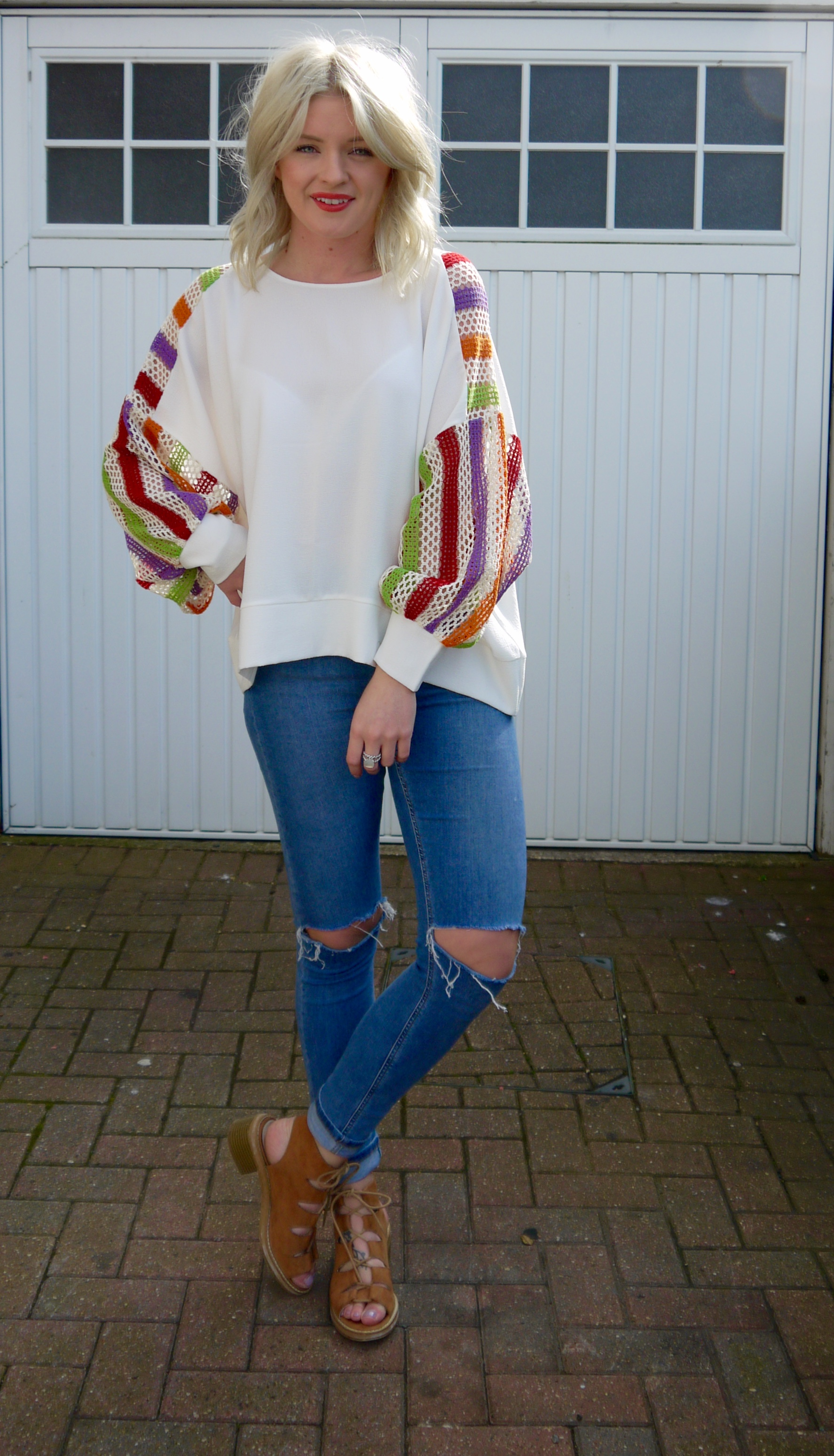 minkie london, Crochet Oversized Top,  laura byrnes, lauras little locket, blue ripped jeans, spring fashion, tan sandals