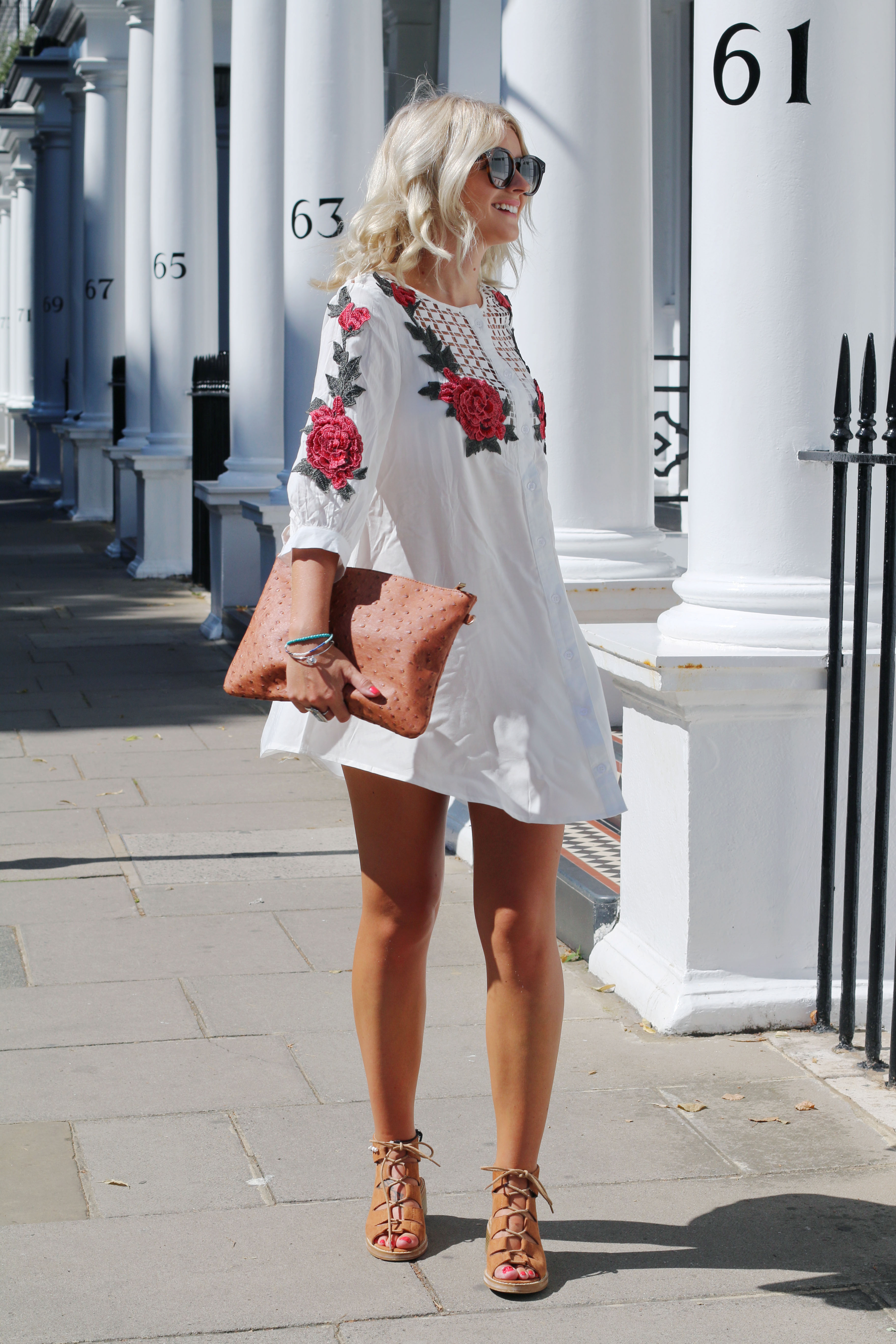 laura byrnes, lauras little locket, lydia collins photography, blonde wavy hair, LOB, ash wavy hair, south kensington, BOOHOO , Boohoo Petite Embroidered Longline Shirt, embroidery, rose detail, white longline shirt, tan lace up sandals,