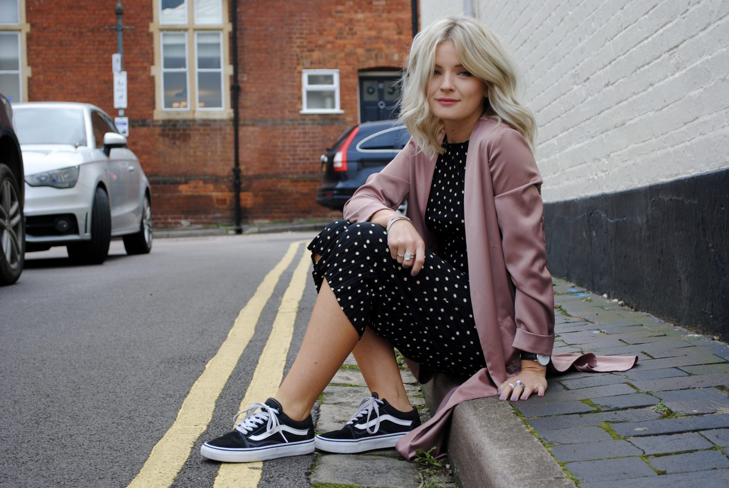 laura byrnes, lauras little locket, polka dot playsuit, culotte playsuit, pleated playsuit, culotte jumpsuit, pink duster jacket, dusky pink longline jacket, embroidered jacket, black vans, old school black vans, st albans, fashion blogger, street style,