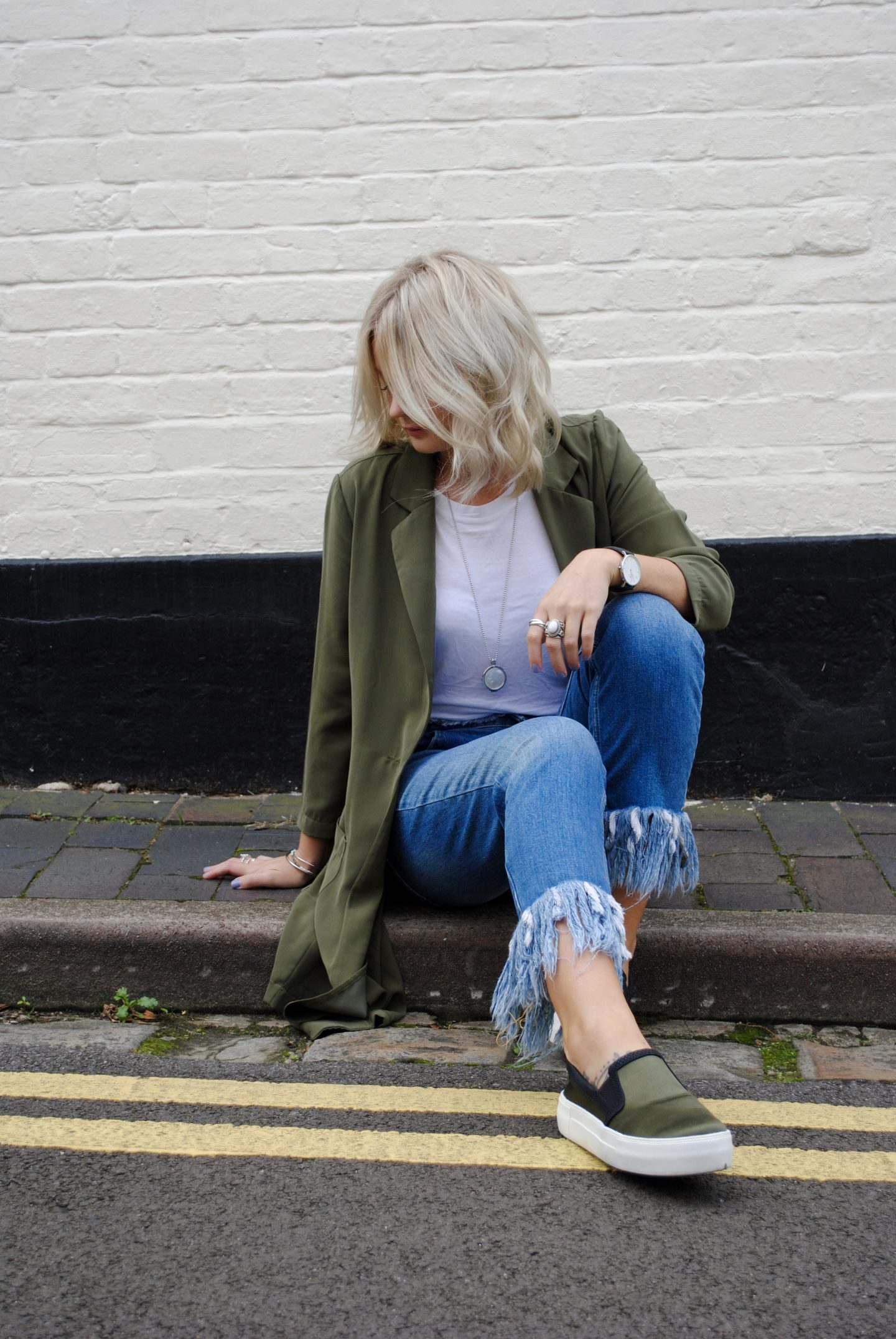 laura byrnes, lauras little locket, khaki jacket, white tee, distressed denim, raw hems, Khaki wide fit chunky plimsolls