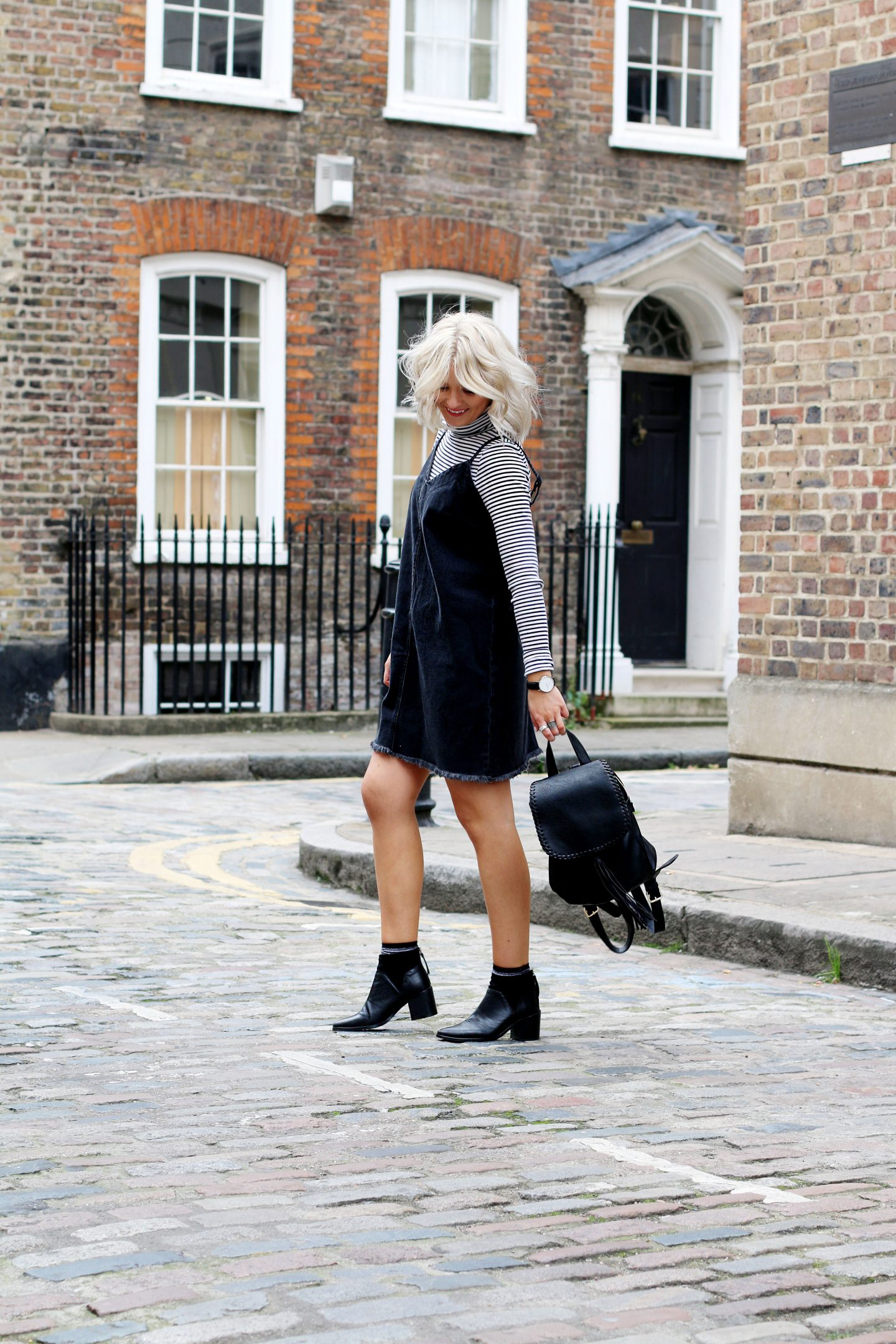 lauras little locket, laura byrnes, street style, denim dress, denim cami dress, stripe polo neck, black ankle boots, polo neck with cami dress, autumnal layering, blonde bob, blonde wavy bob, london style, fashion, style, london blogger, fashion blogger