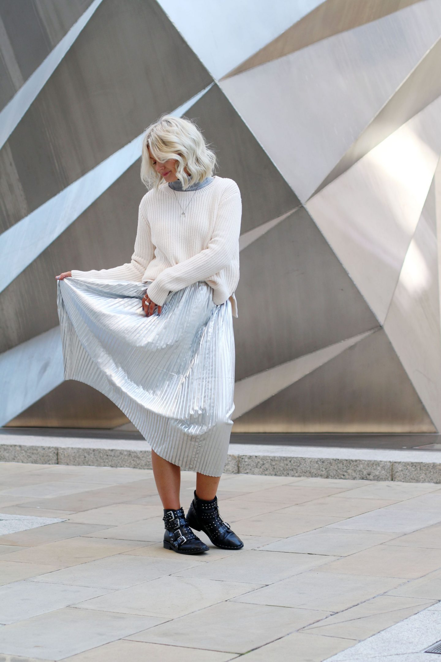 laura byrnes, lauras little locket, how to wear a silver skirt, silver pleated skirt, topshop amy boots, silver stud givenchy dupes, lauras little locket