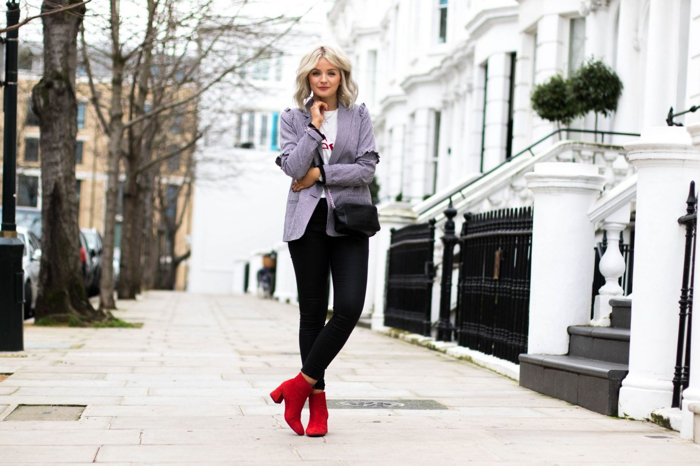 lauras little locket, laura byrnes, gingham blazer, red maggie boots, asos croc body bag, black cross body bag,