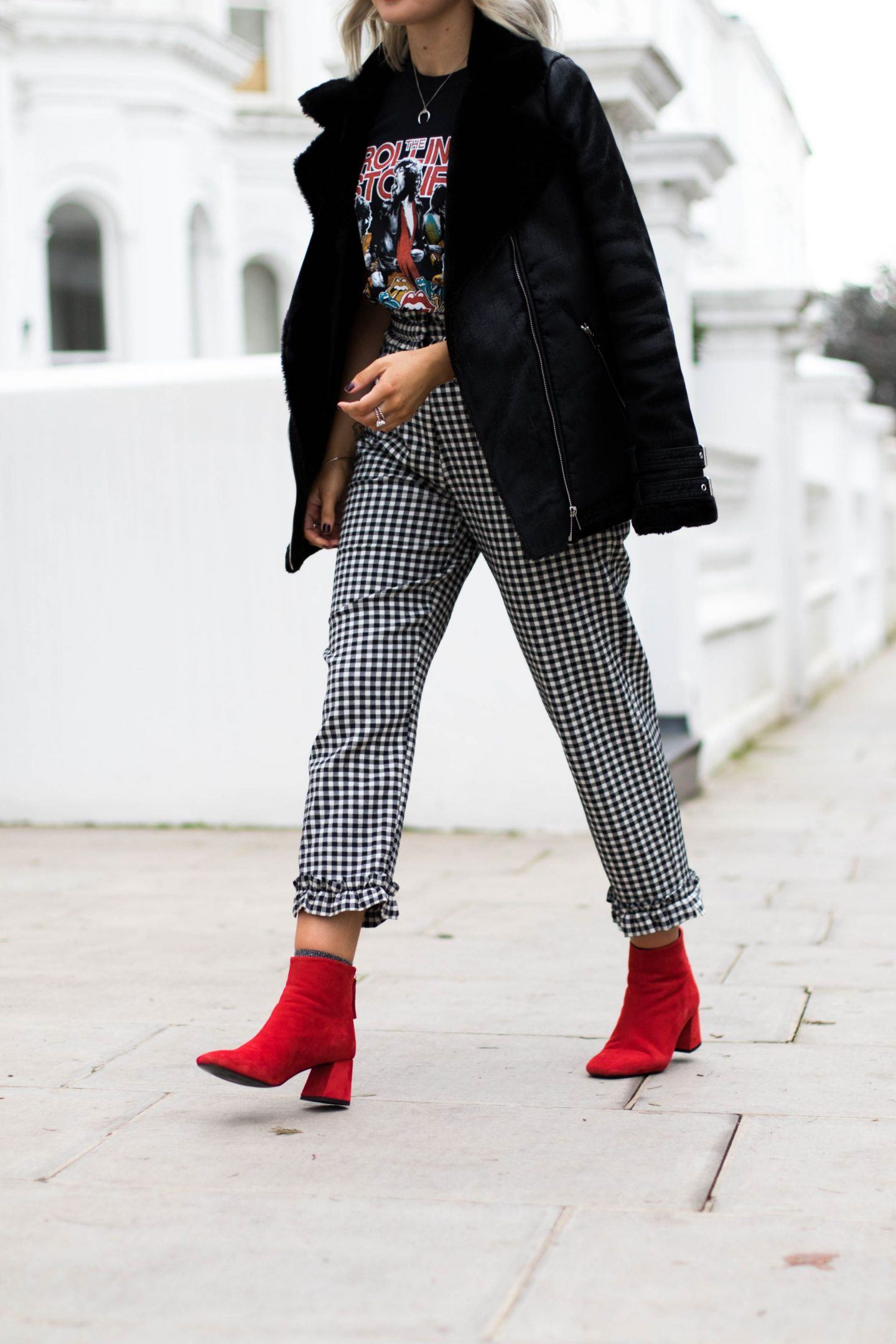 laura byrnes, lauras little locket, topshop gingham trousers, red maggie boots, and tee, black rock tee, blonde wavy bob, fashion blogger