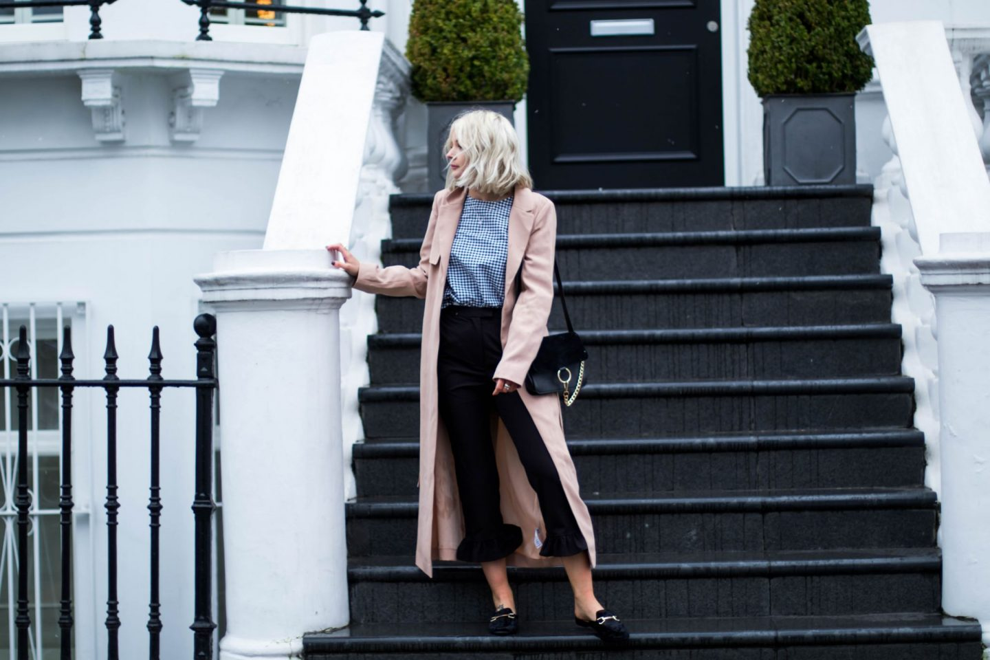LAURA BYRNES, lauras little locket, gingham, backless loafers, pink duster jacket, blonde wavy bob