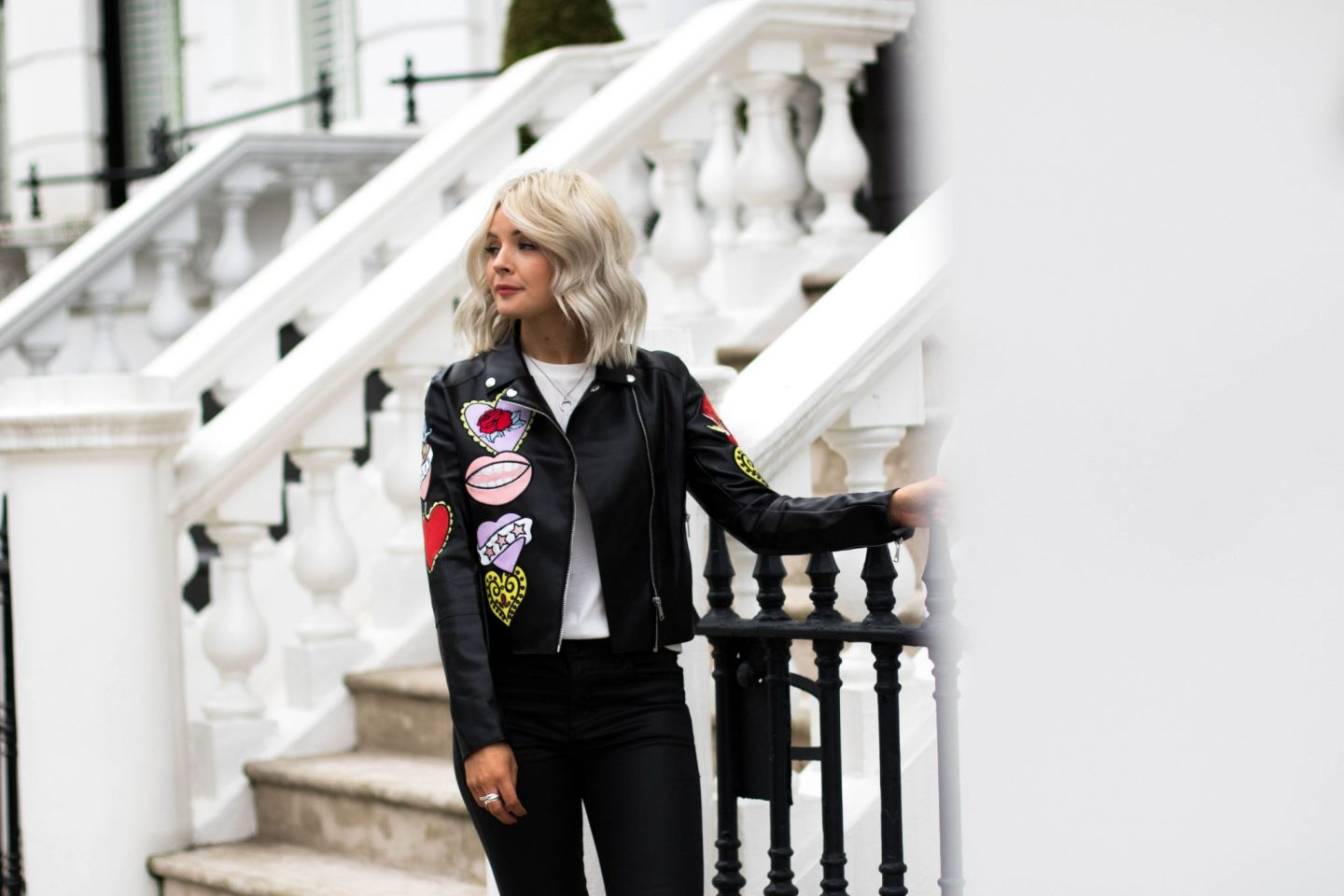laura byrnes, lauras little locket, biker chic, black leather jacket, biker chic, leather jacket,