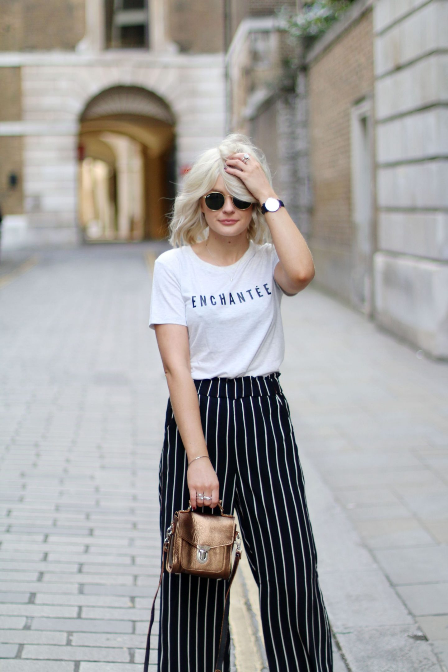 laura byrnes, lauras little locket, slogan tee, flared trouser, london, street style,